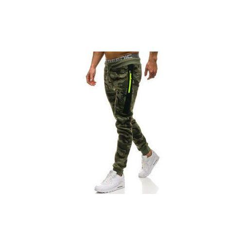 Spodnie męskie dresowe joggery moro-zielone Denley ML230, kolor zielony
