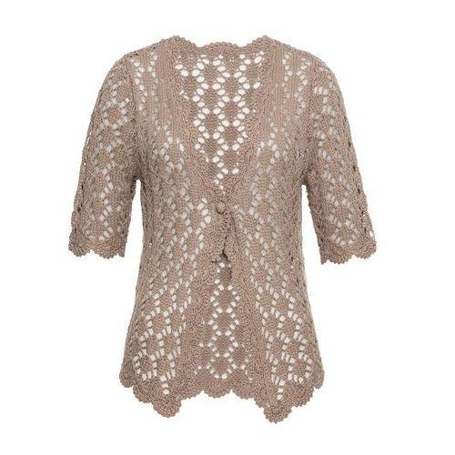 Sweter rozpinany szydełkowy bonprix brunatny, w 8 rozmiarach