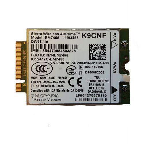 Dell Nowy modem wwan dw5811e lte 4g em7455 (5397184039106)