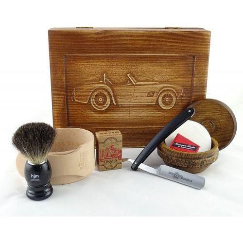 RETRO Samochód I 7-elementowy zestaw do golenia brzytwą w drewnianym pudełku, czarny