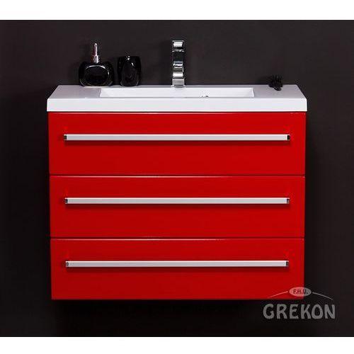 Czerwona szafka wisząca z umywalką 80/39/3 seria fokus cz marki Gante