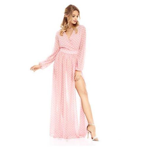 Sukienka Penelopa różowa w białe kropki, w 3 rozmiarach