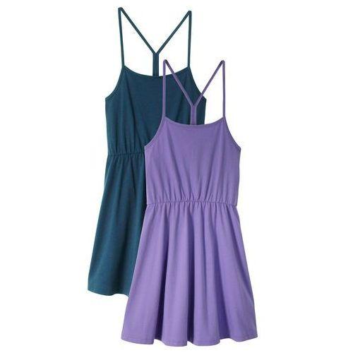 Sukienka letnia dziewczęca bonprix niebieski z nadrukiem
