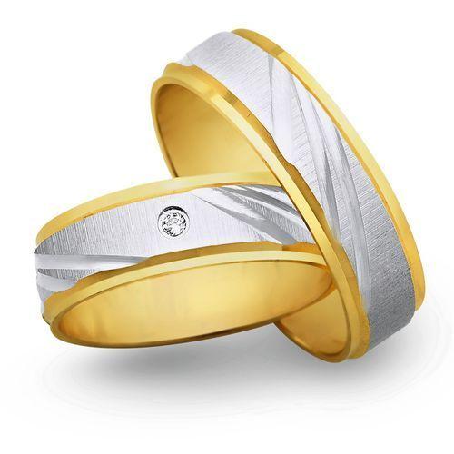 Świat złota Obrączki ślubne z żółtego i białego złota 6mm - o2k/032