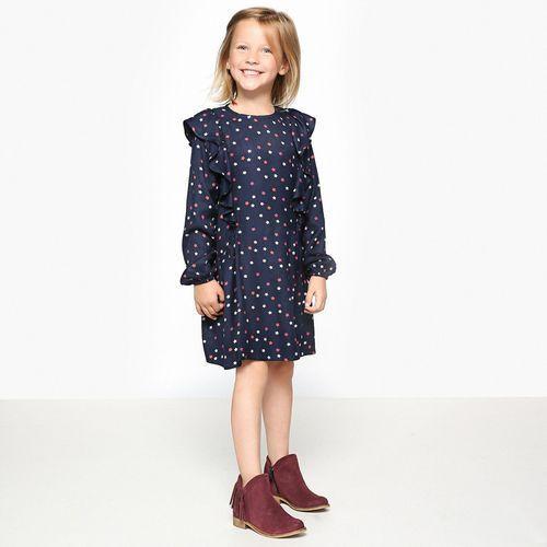 Wzorzysta rozkloszowana sukienka, półdługa marki La redoute collections