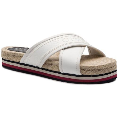 Espadryle - colorful tommy flat sandal fw0fw04159 whisper white 121 marki Tommy hilfiger