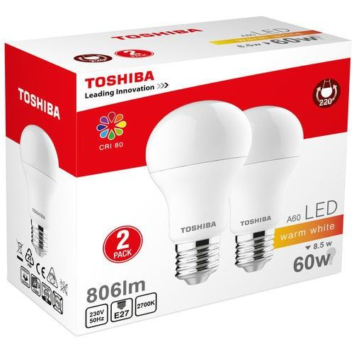 Żarówka LED TOSHIBA A60 Duo Pack 8.5W (60W) 806LM 2700K 80RA ND E27