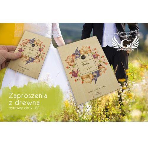 Zaproszenia ślubne z drewna - cyfrowy druk uv - zap025 marki Grawernia.pl - grawerowanie i wycinanie laserem