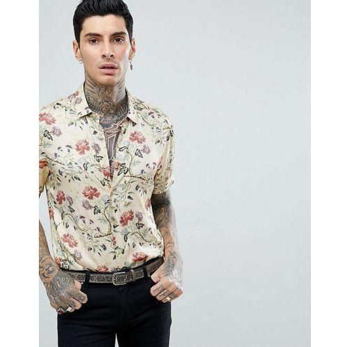 ASOS DESIGN regular fit satin viscose shirt with floral design in ecru - Beige, w 6 rozmiarach