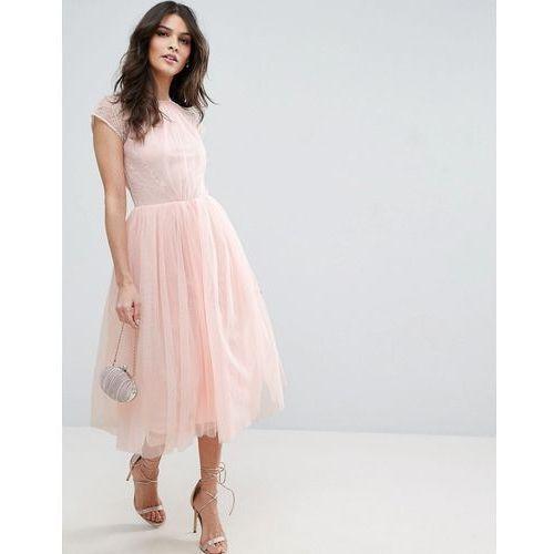 Asos premium lace tulle midi prom dress - pink