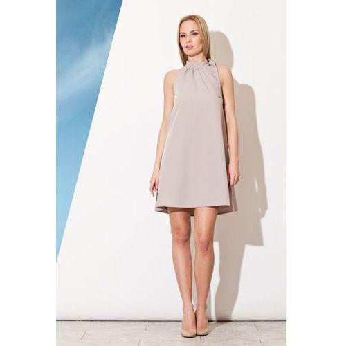 Szara Trapezowa Sukienka z Wiązaną Kokardą na Szyi, w 4 rozmiarach