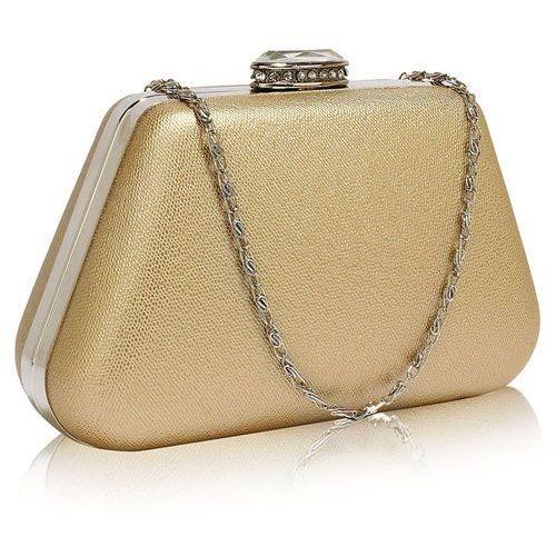 Złota torebka wizytowa na wesele z kryształowym zamknięciem - złoty