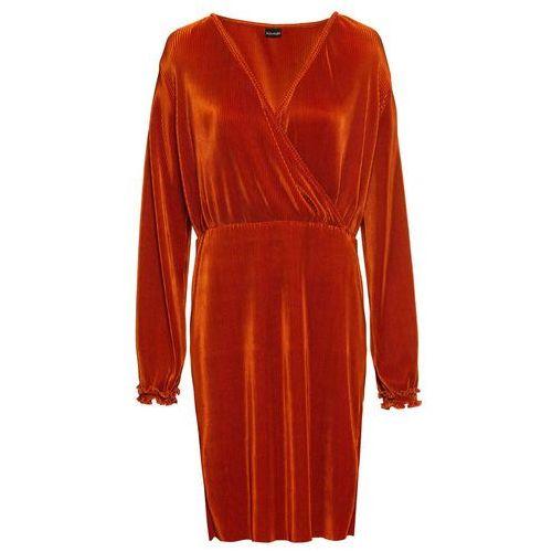 Sukienka plisowana bonprix rdzawobrązowy