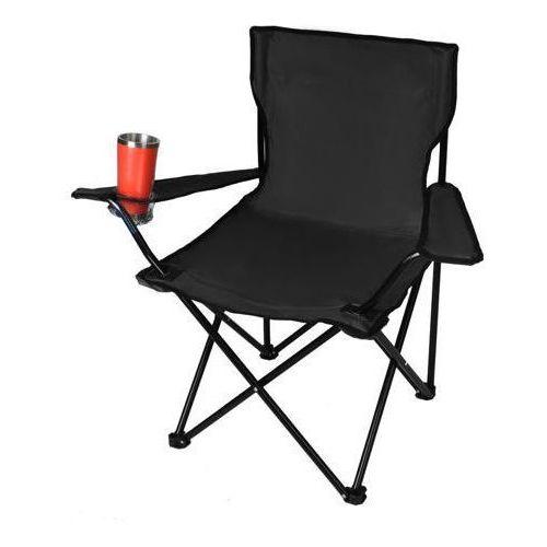 Krzesło wędkarskie z oparciem składane - czarne
