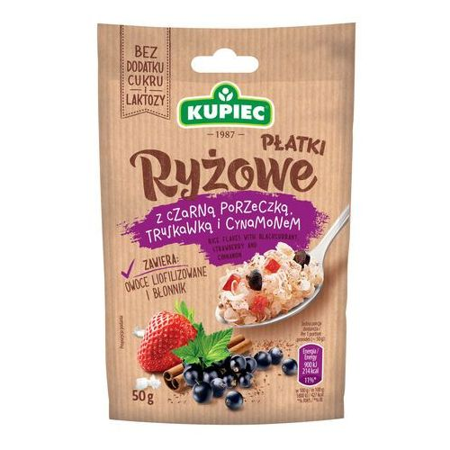 Kupiec Płatki ryżowe z czarną porzeczką, truskawką i cynamonem (folia) 50g (bez dodatku cukru i laktozy) (5906747174491)