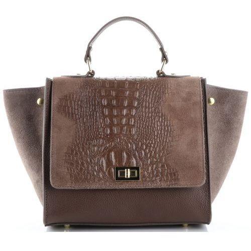 1efb8c1b795c3 Włoskie torebki skórzane elegancki kuferek wzór aligatora ziemiste (kolory)  marki Genuine leather ...