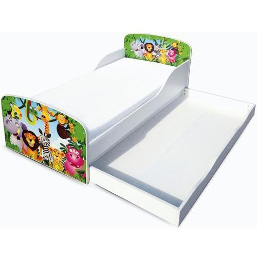 Białe łóżko dziecięce z szufladą - drewniane, Pocztówka z zoo, produkt marki maxima (dystrybutor)