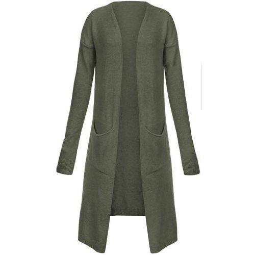 DŁUGI KARDIGAN Z KIESZENIAMI KHAKI (120ART) - khaki, kolor zielony