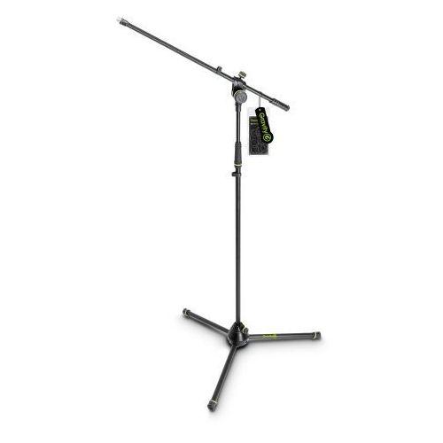 Gravity MS 4321 B Statyw mikrofonowy z trójnożną, składaną podstawą i dwupunktową regulacją wysięgnika