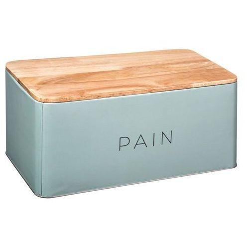 5five simple smart Metalowy chlebak baltik z drewnianą deską do krojenia, 2w1 - kolor zielony (3560239659372)