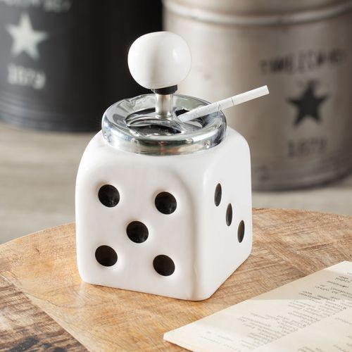 popielniczka dice white 9x9x16,5, 9 × 9 × 16,5 marki Dekoria
