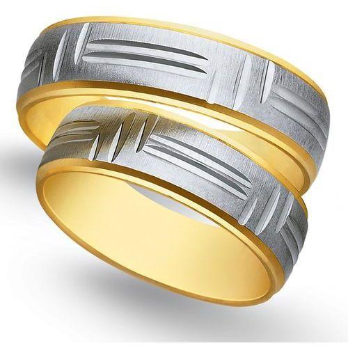 Obrączki z żółtego i białego złota 6mm - O2K/133 - produkt dostępny w Świat Złota