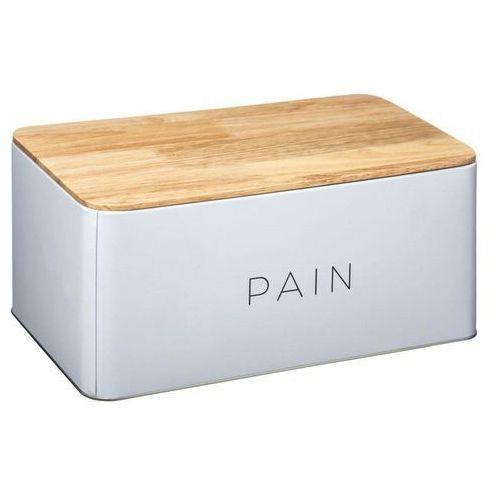 Metalowy chlebak BALTIK z drewnianą deską do krojenia, 2w1 - kolor biały (3560239659358)