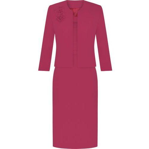 Kostium damski Izolda IX, wiosenny komplet z amarantowej tkaniny. - Izolda IX - produkt z kategorii- garsonki i kostiumy