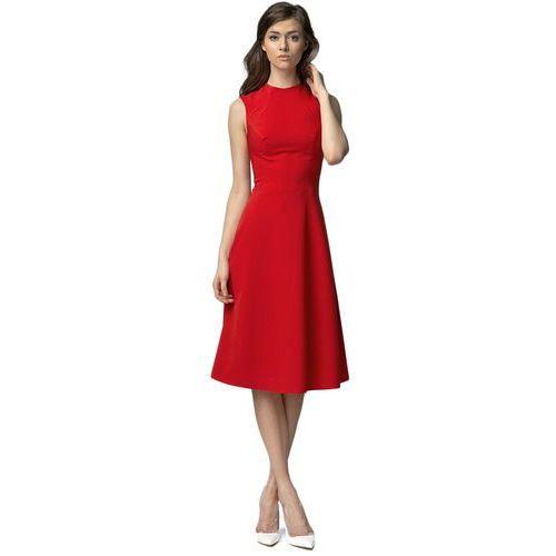 Sukienka MIDI - czerwony - S62, kolor czerwony