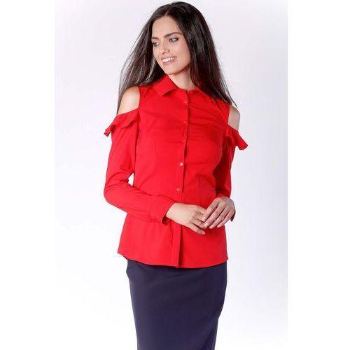 5e7205366b Nommo Nietuzinkowa czerwona koszula z odkrytymi ramionami i falbanką 149