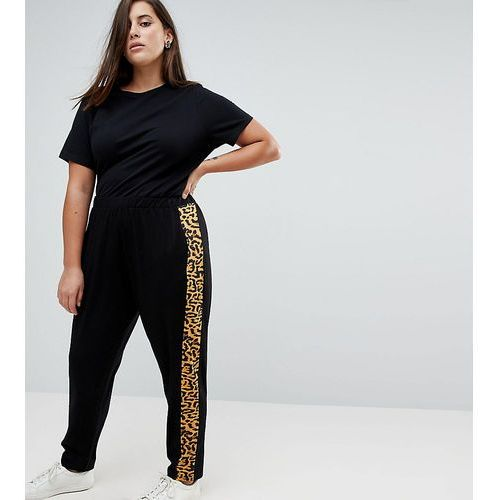 Asos curve easy peg trousers with animal side stripe - black
