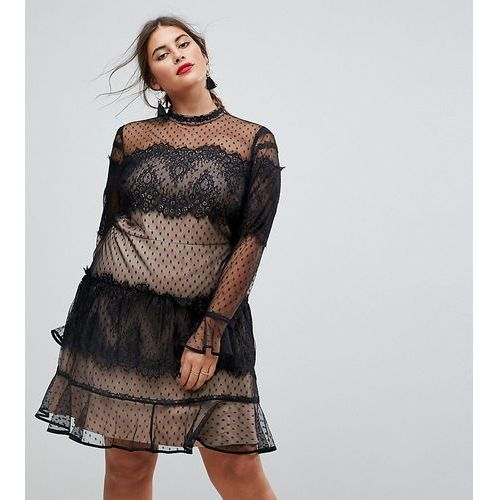lace dobby patchwork long sleeve mini dress - black, Asos curve