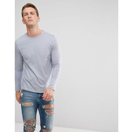 design crew neck t-shirt with long sleeves in grey - blue marki Asos