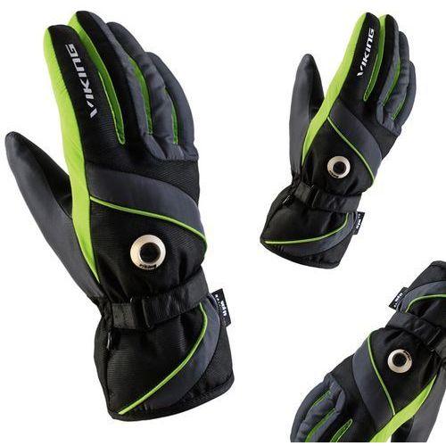 Rękawice narciarskie męskie trick ski czarno-zielone 8 marki Viking