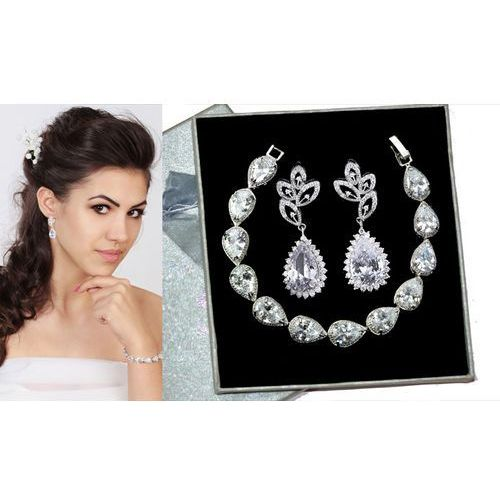 Kpl704 komplet ślubny, biżuteria ślubna z cyrkoniami k686/11 b599/425 marki Mak-biżuteria