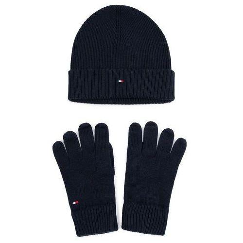 Zestaw Czapka i Rękawiczki TOMMY HILFIGER - Pima Cotton Beanie & Gloves Gp AM0AM05435 CJM, kolor niebieski