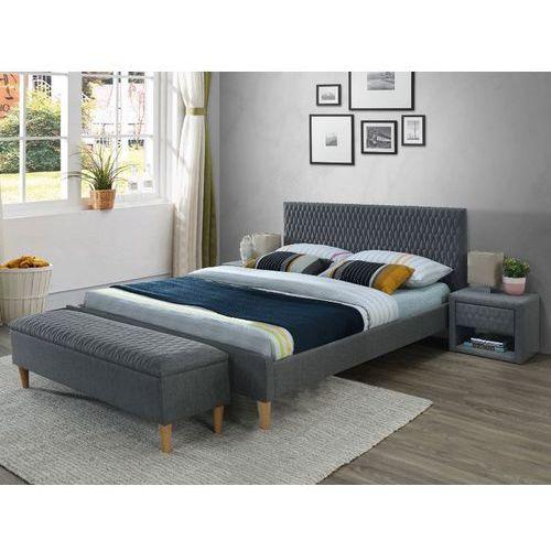Tapicerowane łóżko z pikowanym wezgłowiem Azurro szare