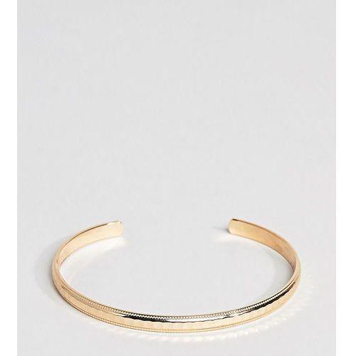 ASOS DESIGN Curve minimal faceted cuff bracelet - Gold