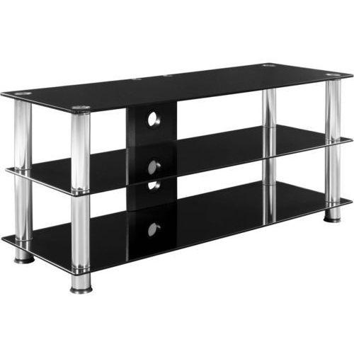 Stilista ® Stolik pod telewizor rtv czarne szkło i aluminium