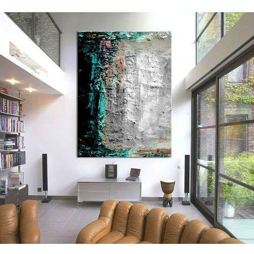 Turkusowo szara abstrakcja - Modny obraz na ścianę   obrazy do salonu