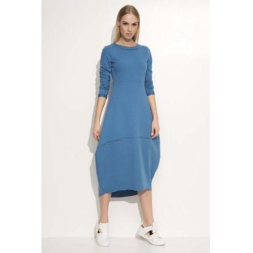 Jeansowa Sukienka Asymetryczna Bombka Midi z Długim Rękawem, kolor niebieski