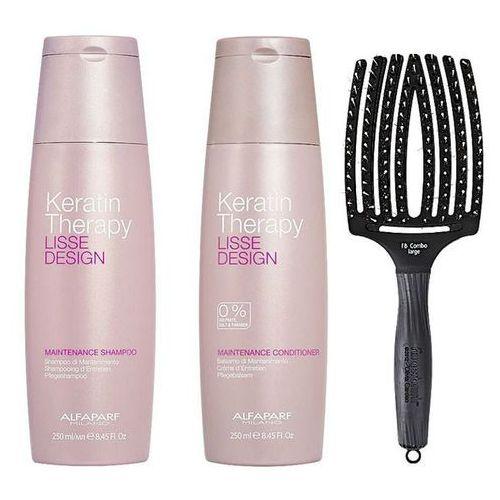 keratin therapy maintenance and finger brush | zestaw do wygładzenia i rozczesywania włosów: szampon 250ml, odżywka 250ml + szczotka rozmiar l marki Alfaparf