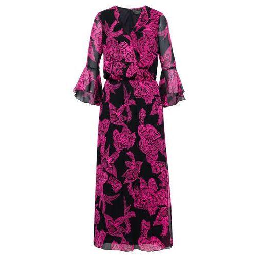 Długa sukienka bonprix czarno-różowa magnolia z nadrukiem