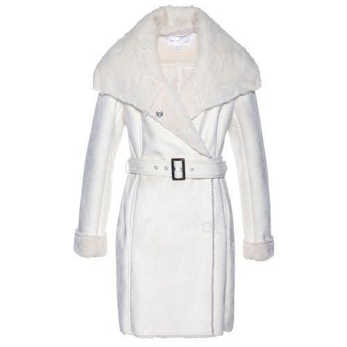 Bonprix Płaszcz ze sztucznej skóry biel wełny