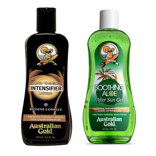 Australian gold rapid tanning intensifier and soothing aloe after sun | zestaw do opalania: mleczko do opalania 237ml + żel po opalaniu 237ml