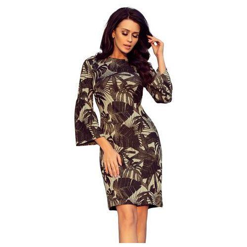 d805c71ca9 Khaki Kobieca Dopasowana Sukienka w Liście z Rozkloszowanym Rękawem