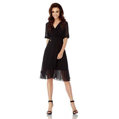 Czarna Elegancka Kopertowa Sukienka z Plisowanym Dołem, kopertowa