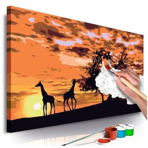 Artgeist Obraz do samodzielnego malowania - na sawannie (żyrafy i słonie)