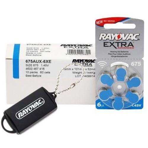 Rayovac 60 x baterie do aparatów słuchowych extra advanced 675 + zasobnik na baterie rayovac