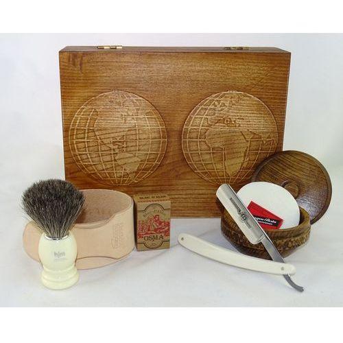 Retro mapa świata 7-elementowy zestaw do golenia brzytwą w drewnianym pudełku, kość słoniowa marki Margo